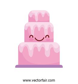 pink big cake dessert cartoon food cute line and fill style