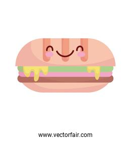 sandwich with melted cheese cartoon food cute line and fill style