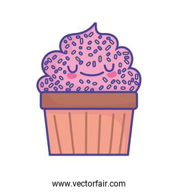 sweet cupcake with sprinkles grainy food cute flat style icon