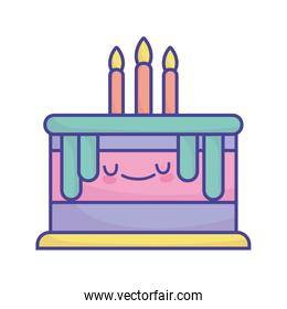 birthday cake with candles celebration cartoon food cute flat style icon