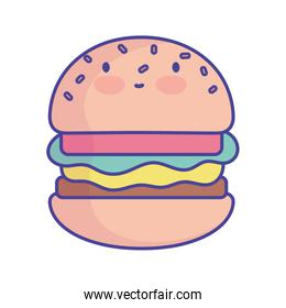 burger character cartoon fast food cute flat style icon