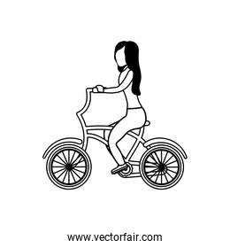 young woman in bicycle on white background