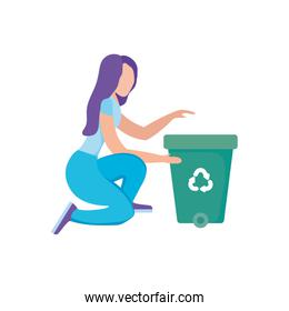 eco friendly scene and woman with garbage cans