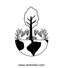 planet earth with tree plants on white background