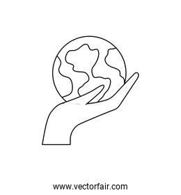 hand with planet earth on white background