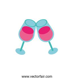 wine cups toast isolated icon