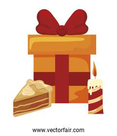 gift box with portion of cake on white background