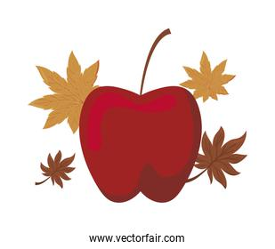 apple of color red with autumn leave on white background