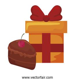 gift box with portion of cake over white