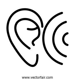ear wave audio sound line style icon