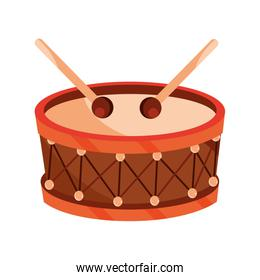 drum and drumsticks percussion musical instrument isolated icon