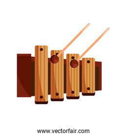 xylophone and sticks percussion musical instrument isolated icon