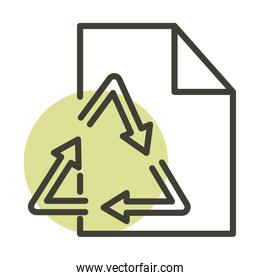 recycle paper ecology alternative sustainable energy line style icon