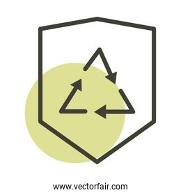 recycle shield eco alternative sustainable energy line style icon