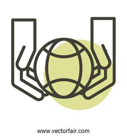 hands and world alternative sustainable energy line style icon