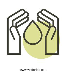 hands water drop alternative sustainable energy line style icon