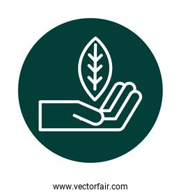 hand with leaf alternative sustainable energy block line style icon