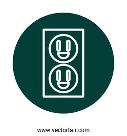 electric outlet alternative sustainable energy block line style icon
