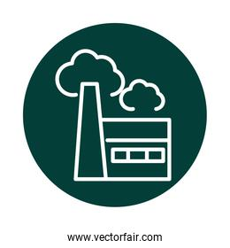 factory pollution alternative sustainable energy block line style icon