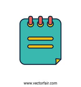 Isolated school notebook line fill style icon vector design