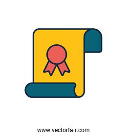 Isolated graduation certificate line fill style icon vector design
