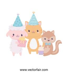 happy birthday cute animals gifts party hat cupcake celebration decoration card