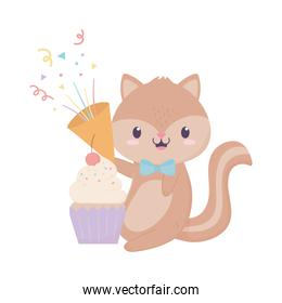 happy birthday squirrel gift cupcake and horn confetti celebration decoration card