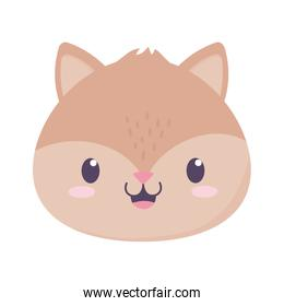 cute squirrel face animal cartoon isolated icon