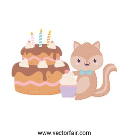 baby shower squirrel cake and cupcake card decoration