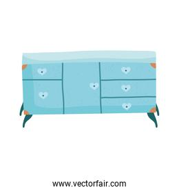 blue chest of drawers furniture decoration isolated icon