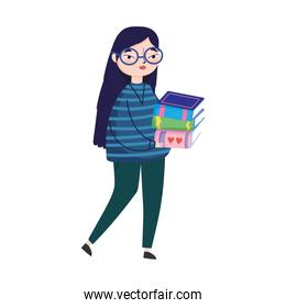 young woman carrying stacked books, book day
