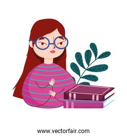 young woman wearing glasses and stacked books branch nature, book day