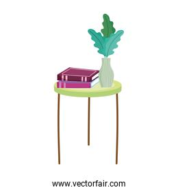 book day, table with books and plant in vase decoration