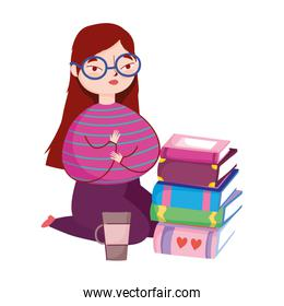 young woman on the knees with books and coffee cup, book day