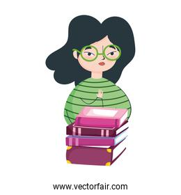 young woman wearing glasses and stacked books, book day