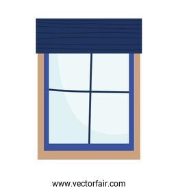 window with blue frame interior decoration isolated icon