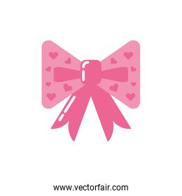 Isolated pink bowtie with hearts vector design