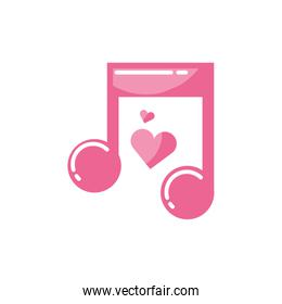 Isolated hearts and music note vector design