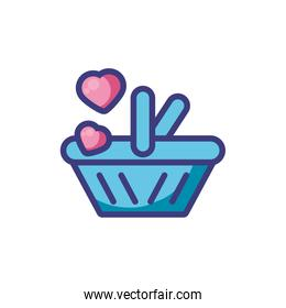Isolated shopping basket and hearts vector illustration