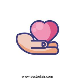 Isolated heart over hand vector design