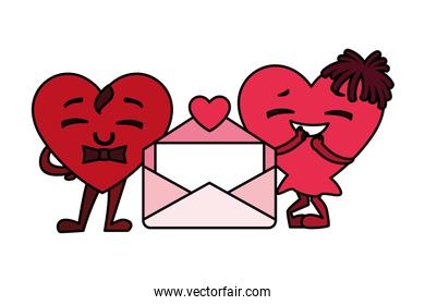 hearts with hands and envelope, design for valentines day card