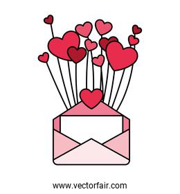 heart with envelope, design for valentines day card
