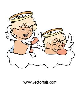 cute cupid angels in different poses on white background