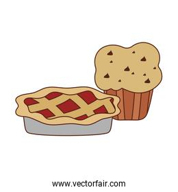 Isolated sweet cake and muffin vector design