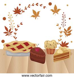 Cakes and muffin of thanksgiving day vector design