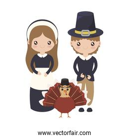 Woman and man cartoon of thanksgiving day vector design