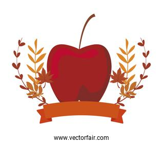 Isolated apple fruit and autumn leaves vector design