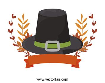 Black hat and leaves of thanksgiving day vector design