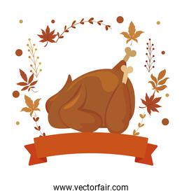 Isolated chicken and autumn leaves vector design