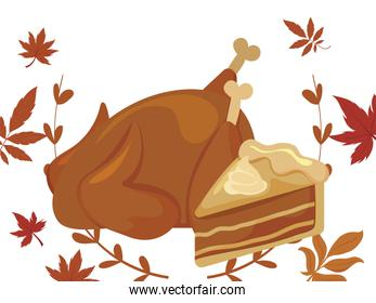 Cake and chicken of thanksgiving day vector design
